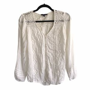 AEO Long Sleeve Button Front Blouse Crochet Cream